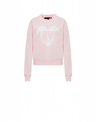 Love Moschino Heart Stretch Sweatshirt Woman Pink Size 38 It - (4 Us)