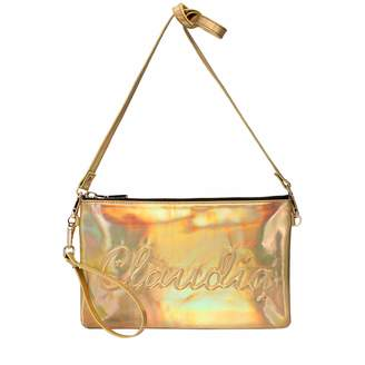 Claudia Canova Womens Claudia Canova Embossed Zip Top Clutch Shoulder Bag Gold (Gold-Rain)