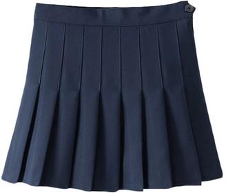 IMEKIS Women Short High Waist Pleated Skater Tennis Skirt Girls School Uniform Skirt Solid Color Casual Running Sports Mini Skirt with Inner Shorts Golf Skorts Navy Blue L