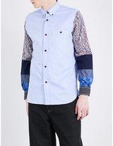 Junya Watanabe Patterned-sleeve Cotton-twill Shirt