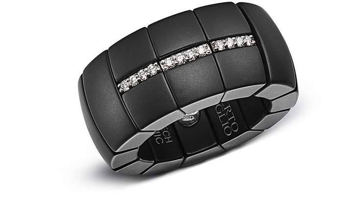 Luce Roberto Demeglio 18K White Gold & Matte Black Ceramic Domino Stretch Ring with Diamonds
