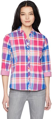 Foxcroft Women's Petite Mary Plaid Wrinkle Free Shirt