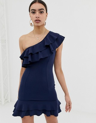 In The Style one shoulder frill dress