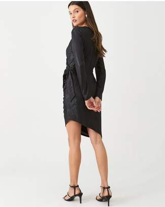 Very Metallic Ruched Front Dress - Black