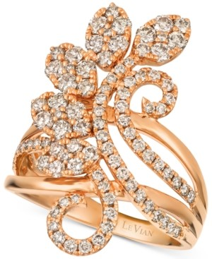 LeVian Le Vian Strawberry & Nude Diamond Flower Cluster Statement Ring (1-3/8 ct. t.w.) in 14k Rose Gold