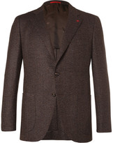 Isaia Brown Slim-fit Mélange Herringbone Wool And Cashmere-blend Blazer - Brown