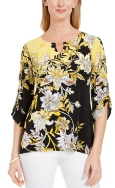 JM Collection Printed Hardware-Keyhole Tunic, Created for Macy's