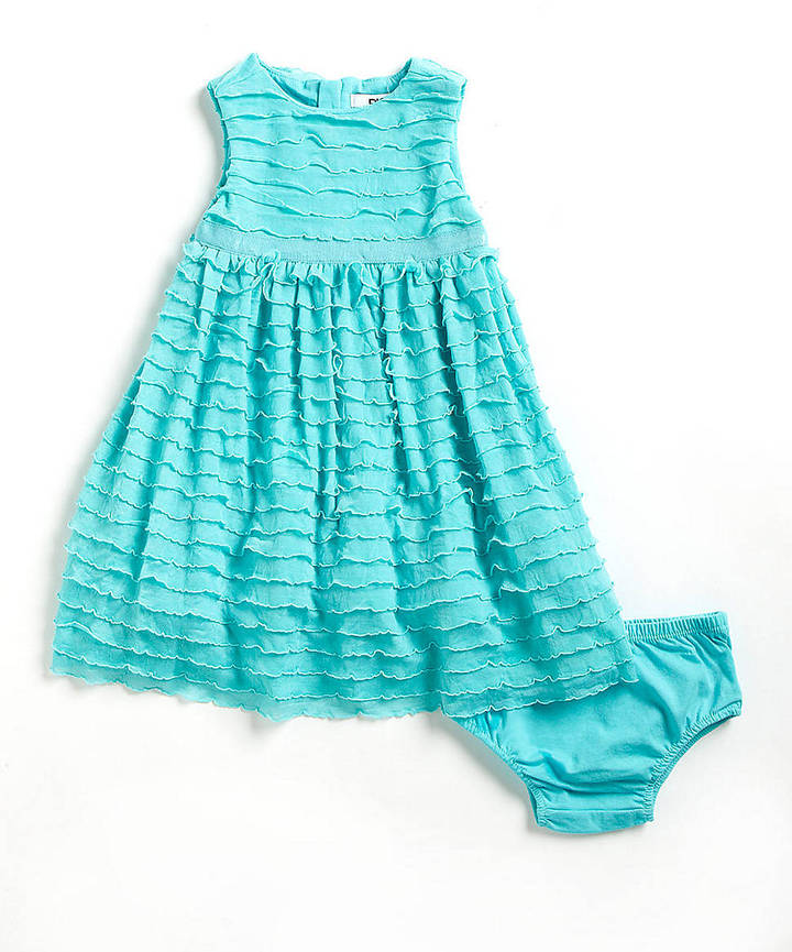 DKNY Girls 2-6x Ruffled Dress and Bloomers Set