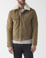 Acne Studios Beige Beat Jacket in Corduroy with Fur-Lined Collar