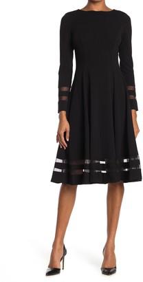 Calvin Klein Long Sleeve Mesh Stripe A-Line Dress