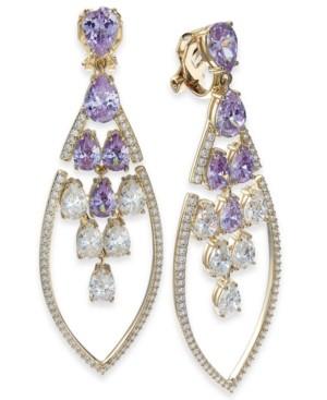 Eliot Danori Crystal Teardrop Cluster Clip-On Drop Earrings, Created for Macy's