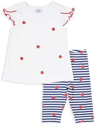 Florence Eiseman Baby's & Little Girl's 2-Piece Strawberry Ruffle Top & Leggings Set