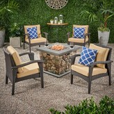 Tucker Outdoor 5 Piece Rattan Multiple Chair Seating Group With Cushions Bayou Breeze Frame Color / Cushion Color: Brown Frame / Brown Cushion