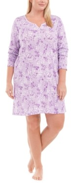 Charter Club Plus Size Cotton Sleepshirt Nightgown, Created for Macy's