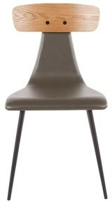 Lumisource Elio Contemporary Chair in Metal, Faux Leather, and Wood