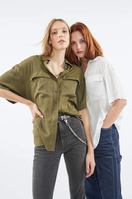 Urban Outfitters Silky Short-Sleeve Button-Down Shirt