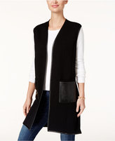 JM Collection Vest with Faux-Leather Trim, Created for Macy's