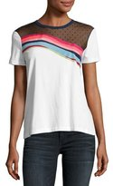 RED Valentino Jersey Rainbow-Wave Tee w/ Point d'Esprit Yoke