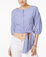 J.o.a. Cropped Tie-Detail Shirt