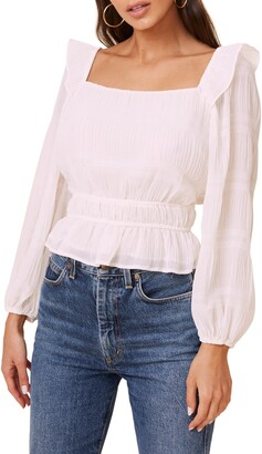ASTR the Label Square Neck Long Sleeve Crinkle Blouse