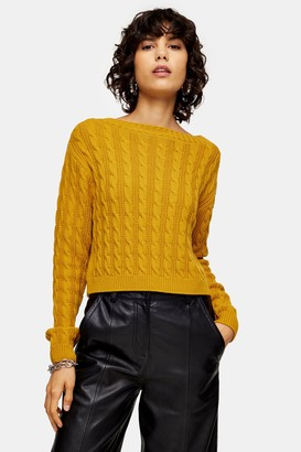 Topshop Womens Chartreuse Mini Cable Knitted Crop Jumper - Chartreuse