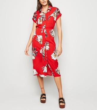 New Look Cameo Rose Floral Midi Shirt Dress