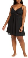 Thumbnail for your product : INC International Concepts Plus Size Lace Chiffon Chemise Nightgown, Created for Macy's