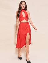 For Love & Lemons Gabriella Button Up Midi Skirt in Chili