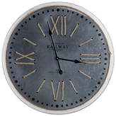 Asstd National Brand Railway Station Round Metal and Rope Wall Clock, One Size , Gray