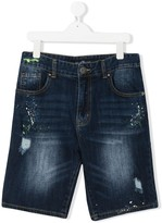 John Richmond Junior TEEN distressed rear logo print shorts