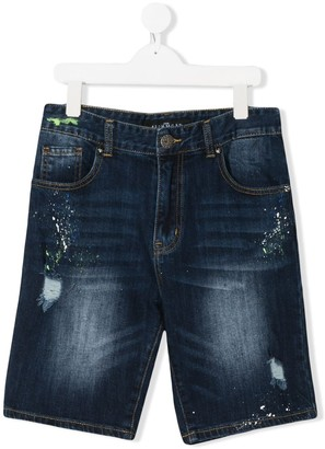 John Richmond Junior TEEN distressed rear logo print shorts
