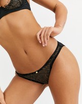 Thumbnail for your product : Coco de Mer X Playboy Gilded Heart lace brief in black
