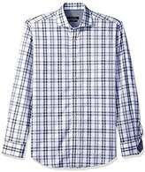Bugatchi Men's Fitted Checkered Spread Collar Sport Shirt