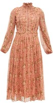 Zimmermann Espionage Lace-up Silk-chiffon Dress - Womens - Red Print