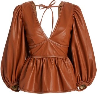 Staud Luna Vegan Leather Puffed Sleeve Top
