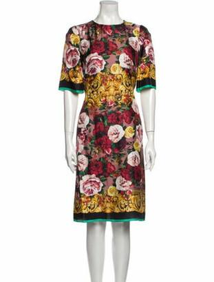 Dolce & Gabbana Floral Print Knee-Length Dress Purple