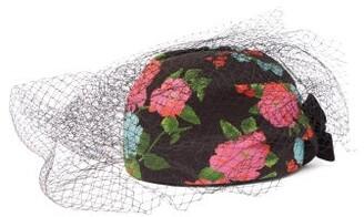 Erdem X Noel Stewart Net-trimmed Floral-print Hat - Black Multi