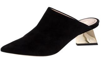 Nicholas Kirkwood Black Suede Veronika Pointed Toe Mules Size 36