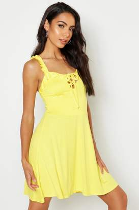 boohoo Jersey Lace Up Detail Skater Dress