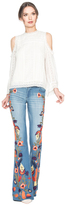 Alice + Olivia Ryley Low Rise Embroidered Bell Jean