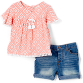 Peach Geometric Tassel-Accent Top & Shorts - Infant & Toddler