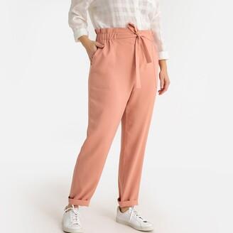 "Castaluna Plus Size Wide Leg Lyocell High Waist Trousers, Length 28.5"""