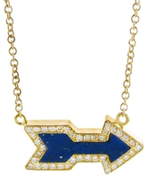Jennifer Meyer Lapis Inlay Diamond Arrow Pendant Necklace