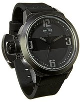 Welder Men's Quartz Watch with Black Dial Analogue Display and Black Leather Strap K24-3605