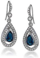 Carolee Simply Blue Pav and Crystal Teardrop Earrings