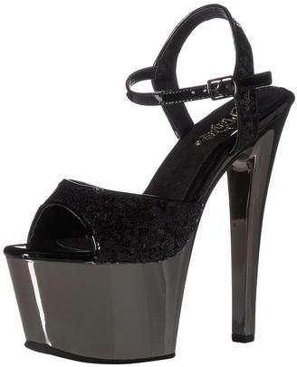 Pleaser USA Women's SKY-310SQ Sandal Black Sequins/Pewter Chrome 11 M US