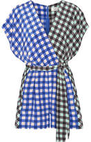 Diane von Furstenberg Wrap-effect Gingham Silk Crepe De Chine Playsuit - Blue