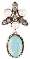 Expression Oval Stone and Pearl Brooch