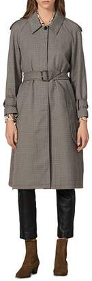 Sandro Leon Check Trench Coat