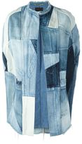 Saint Laurent patchwork denim cape - women - Cotton - XS